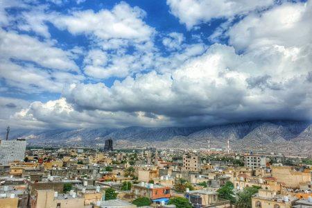 نمائی زیبا از شهر نخل تقی بعد از یک روز بارانی ۱